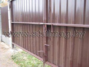 Ворота из металлопрофиля в частный дом 10