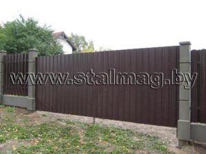 Ворота из металлопрофиля в частный дом 12