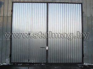 Ворота из оцинкованного профлиста на складское помещение 14